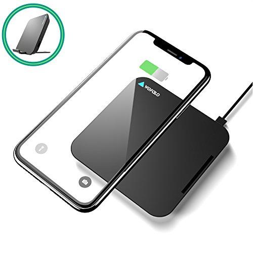 Caricatore wireless veloce iphone, wofalo caricabatterie wireless iphone x, cuscinetto di ricarica di con rivestimento in pelle e base in metallo per iphone x, iphone 8/8 plus, samsung galaxy s8 / s8 plus,s6 s7
