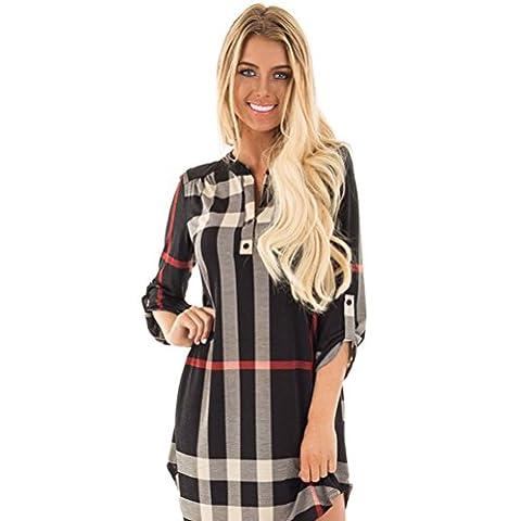 GBT Carreaux À Long Manche Manche Irrégulier / Col Imprimer Robe,black,XL