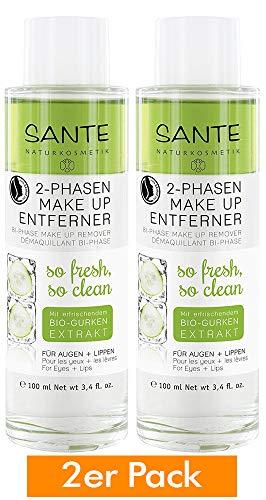 SANTE Naturkosmetik 2 Phasen Makeup Entferner, Entfernt Augen- & Lippen-Make-up, Vegan, Sanft & Mild, Bio-Öle, entfernt wasserfestes Make up, 2x100ml Doppelpack -
