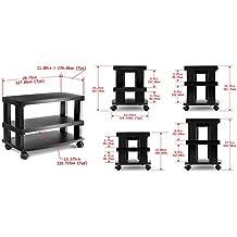 Aleratec 3-Tier LCD | LED TV Stand Entretenimiento estante con Ruedas
