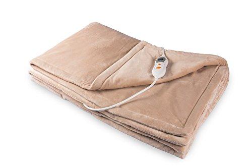 Vidabelle Elektrische Kuschel-Wellness-Heizdecke, maschinenwaschbar, mit 6 Temperaturstufen + Überhitzungsschutz in Beige