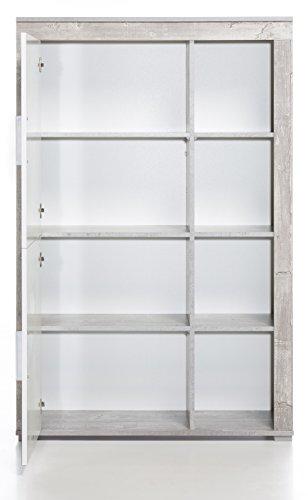 4.4.3.2955: made in BRD – Serie AWBW – Anstellschrank weiss-grau gescheckt dekor- Regalschrank weiss-grau gescheckt dekor – Standvitrine weiss-grau gescheckt dekor - 2
