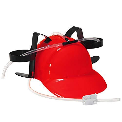 Naisicatar Guzzler Trinken Helm und Dosenhalter Trinker-Hut-Kappe mit Stroh für Bier und Soda für Partei-Fußball-Spiele Halloween Christmas Fun (rot) Spaß-Spielzeug für Kinder