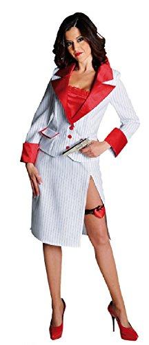 20er Jahre Gangster Girl Kostüm - narrenkiste M211137-S-A weiß-rot Damen Gangster Kostüm-Kleid