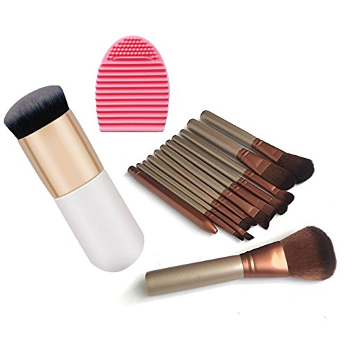 ZafosStore Makeup Brush Set with 12 Brushes and Metal Storage Box, 1 Egg-shaped Makeup Brush Cleaner and 1 Blush Brush