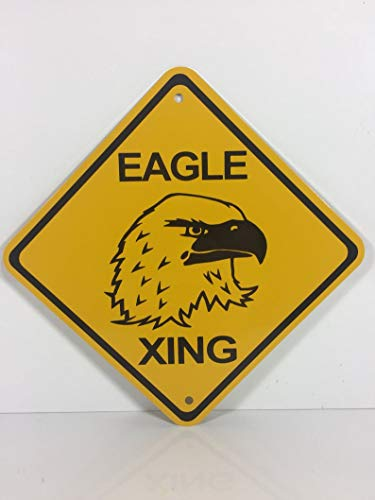 DKISEE Bald Eagle Xing Metal Yellow Caution Crossing Sign, 12