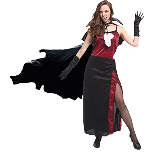 Nihiug Halloween Erwachsene Kleid Make-up Party Party Cos Kostüm Horror Dämonen Vampir Sexy Vampire Super Party Supplies Ligh,A
