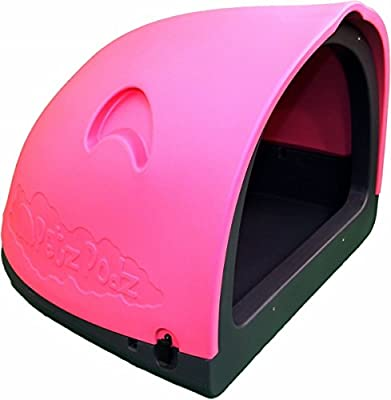PetzPodz POD MEDIUM for puppy, dog and chicken designer pink plastic dog crate, cave & den, dog kennel house igloo for indoor and outdoor use dog pen and dog home