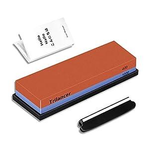 Trilancer Schleifstein 400 1000, Abziehstein Wetzstein, Doppelseitiger Messerschärfer Wasserstein für Messer, mit…