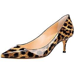 Zapatos de tacón con Punta de tacón en Punta de Charol para Mujer Zapatos de Oficina Zapatillas Charol Leopardo Talla 43