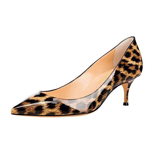 Lutalica Frauen Lackleder Spitzschuh Kitten Heel Hochzeit Kleid Schuhe Büro Pumps Schuhe Leopard Größe 43 EU
