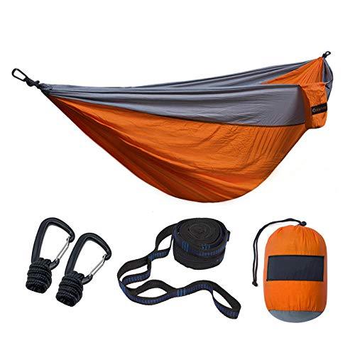 Hängematte ultraleichte Camping Schaukel Hängematte Outdoor Freizeit Reisehängematte Nylon, Orange und Grau
