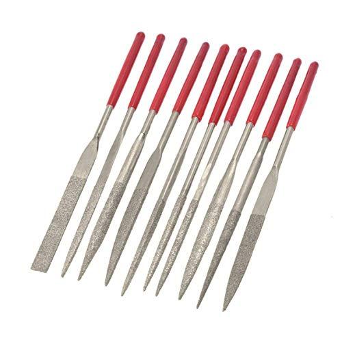 10 stücke 140mm Diamant Beschichtete Nadelfeile Set Handwerkzeuge für Keramik Glas Edelstein Hobby und Handwerk, silber,