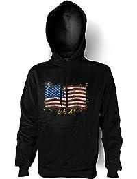 Kapuzensweatshirt Hoodie Pullover - Amerikanische Flagge Stars and Stripes - USA Amerika - Farbe: schwarz