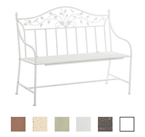 CLP Gartenbank ABIONA im Landhausstil, Eisen lackiert (Metall) ca 110 x 50 cm Weiß