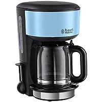 Russell Hobbs Colours Plus+ Cafetera, Jarra de Cristal, 1000 W, 1.25 litros, Acero Inoxidable, Negro, Azul