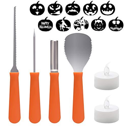 hostan Halloween Kürbis-Schnitzset,Halloween Kürbis Schnitzwerkzeuge, 4 Edelstahl Pumpkin Tools Set, 10 Schnitz-Vorlagen und 2 LED-Licht für Erwachsene und Kinder