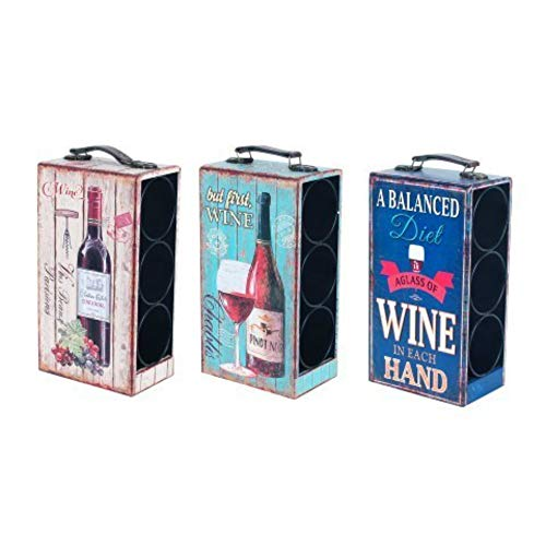 """Set de 3 Botelleros Decorativos para Botellas""""Wine"""". Muebles Auxiliares. Menaje de Cocina. Regalos Originales. 33 x 18 x 12 cm."""