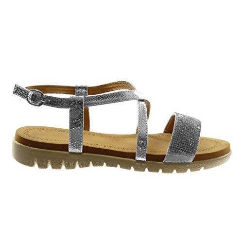 Angkorly Scarpe Moda Sandali con Cinturino Alla Caviglia Donna Multi-Briglia Strass Pelle di Serpente Tacco Tacco Piatto 2.5 cm Argento