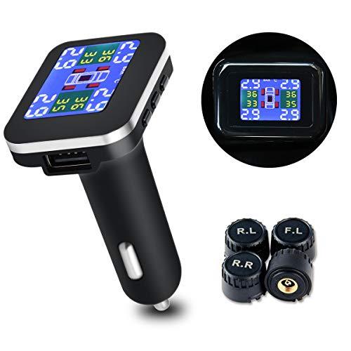 Umiwe Sistema di Monitoraggio Pressione Pneumatici TPMS, Accendisigari Indicatore Sensori di Pressione dei Pneumatici con 4 Sensori Esterni, Visualizzazione in Tempo Reale e Funzione di Allarme