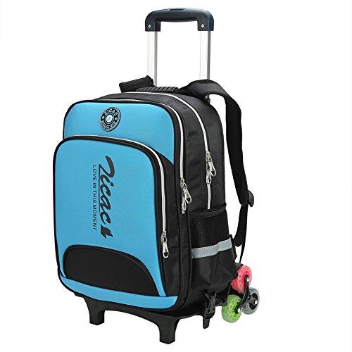 Zicac zaino scuola trolley, zaino rotolante elementare scuola borsa zaino trolley con ruote regolabile pull rod zaini bambini per scuola & viaggio