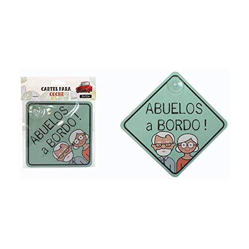 Cisne 2013, S.L. Vinilo Adhesivo para Coche Diseño Abuelos a Bordo! Pegatina Adhesiva Coche tamaño 15x15cm Abuelos a Bordo