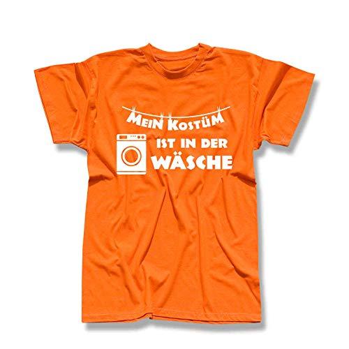 T-Shirt Mein Kostüm ist in der Wäsche Karneval Fasching Volksfest Fun JGA Köln Rosenmontag Weiberfastnacht 13 Farben Herren XS-5XL, Größe:L, Farbe:orange - Logo Weiss