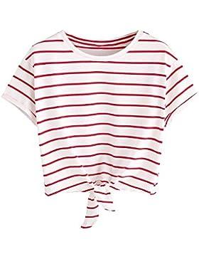 Tomwell Mujeres Verano Manga Corta Camiseta de Rayas Casual Shirt Cuello Redondo Chaleco Tank Crop Tops Blusa