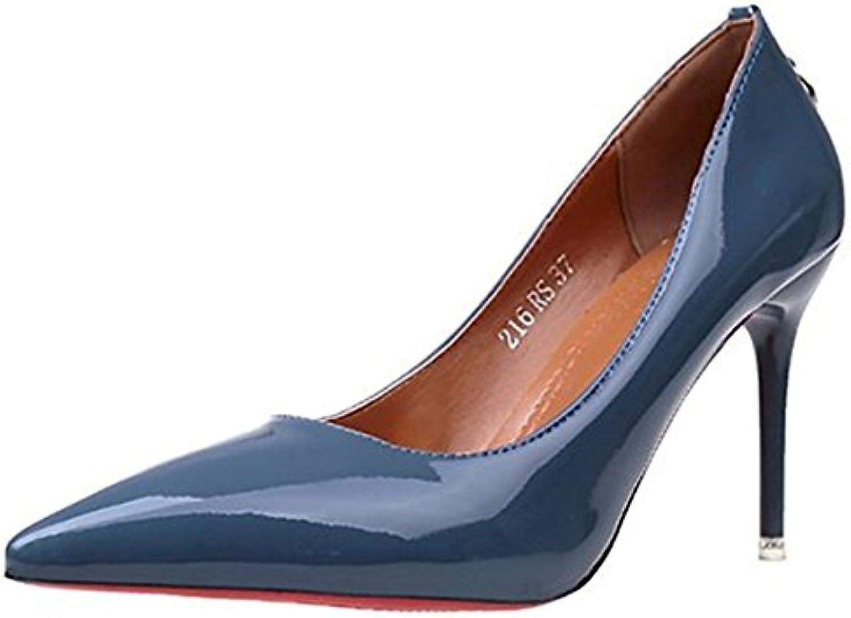 DIMAOL Damenschuhe PU Fallen Grundlegende Pumpe Heels Stiletto Heel Schuhe für Casual Kleid Blau Grün Grau Schwarz