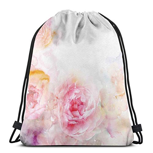 WTZYXS Drawstring Sack Backpacks Bags,Nature Garden Romantic Victorian Flowers Roses Leaves Image,Adjustable,5 Liter Capacity,Adjustable. -