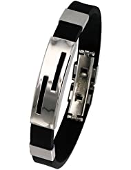 One Man Show Herren-Armband Edelstahl Kautschuk 21 cm 3180824