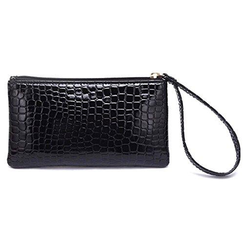 BNASA Frauen Tragbar Alligator Texture Wallet Reißverschluss Clutch Handtasche Medaille Purse-Black