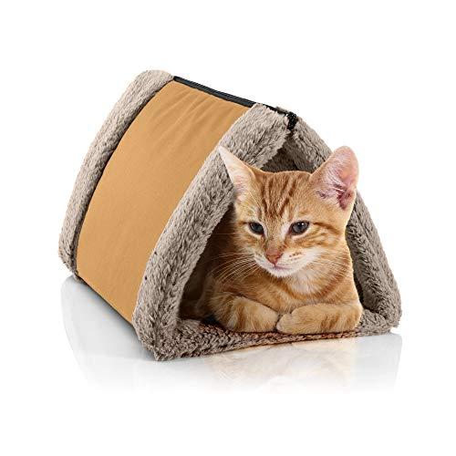 BedDog Katzentunnel 3in1 Luna, Katzenhöhle, Katzenmatte aus Cordura und Microfaser-Velours, waschbare Katzendecke zweiseitig, Unterlage für Haustiere, Farbe GOLDEN-Sand (Gold/beige) - Gold-rechteckiger Teppich