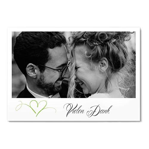 greetinks 30 x Dankeskarten zur Hochzeit 'Herz' in Grün | Personalisierte Danksagungskarten zum selbst Gestalten | 30 Stück Danksagung Karten