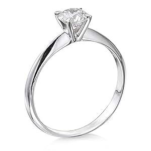 Zertifikat Klassischer 18 Karat (750) Weißgold Damen - Diamant Ring Round 0.50 Karat J-I1 (Ringgröße 48-63)