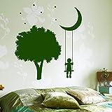 wukongsun Albero Romantico Luna Adesivi murali Bambini Adesivi murali in Vinile Stelle Decalcomanie Carta da Parati Rimovibile personalità Creativa murale Verde 57X69cm