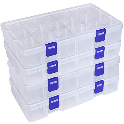 Qualsen Plastik Aufbewahrungsbox Einstellbar Fächer Sortimentskasten Schmuckschatulle Werkzeugcontainer (18 Raster X 4 Packungen, Transparent)