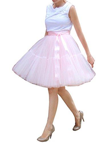 Donna Gonna in tulle Swing Principessa Crinolina Sottogonna in 5 Strati A vita alta Pink