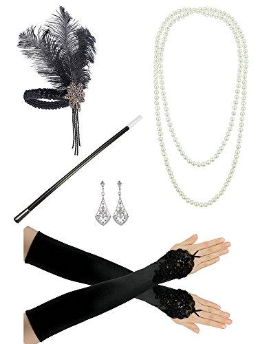 flapper kostuem 1920er Jahre Zubehör Stirnband Perlenkette Handschuhe Lady Charleston Fancy Flapper Kostüm Set