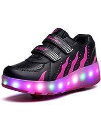 GOLDGOD Luces LED Zapatos Flash Con Interruptor Heelys Polea individual y doble Hombres y mujeres Zapatos deportivos para niños Zapatos al aire libre
