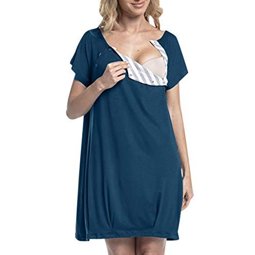 Caerling Damen Geburtskleid Krankenhaus Umstands Nachthemd Stillfunktion Umstandsnachthemd Stillnachthemd Kurzarm Nachthemden für Schwangere und Stillzeit (Pflege-langarm-nachthemd)