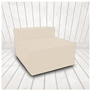 416HGrze 9L. SS300  - Ready Steady Bed Single 1 Seater 100% Cotton Twill Fold-Out Zbed Futon Mattress, Stone