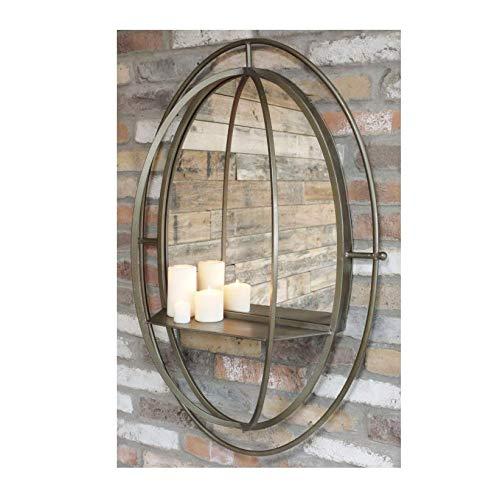 Desconocido Espejo Ovalado de Estilo Industrial de 99 cm con Estante