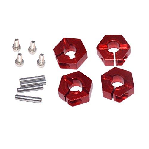 Baoblaze 4 pcs Roue Hex 12mm Drive Hub Pin Vis Aluminium 5.0 pour Voiture RC 1/10 - Rouge