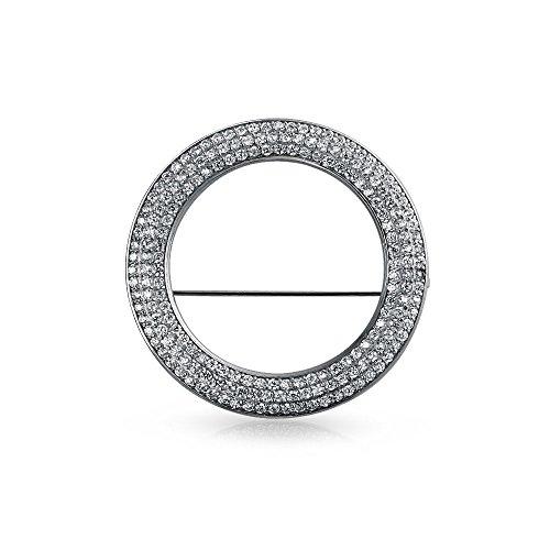Bling Jewelry Braut Ewigkeit Zirkonia Ebnen AAA Cz Schal Runder Kreis Broschen & Anstecknadeln Für Damen Für Hochzeit Messing (Runde Strass-brosche)