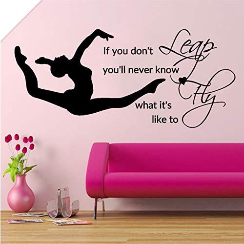 Zxfcczxf Leap Fly Mädchen Schlafzimmer Aufkleber Gymnastic Vinyl Aufkleber Muraux Bettwäsche Dekor Zitate Sport Art Schablonen Für Wände Diy42 * 92Cm