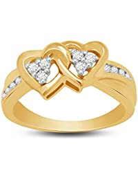 Valentine Day Vijisan 0.56 CT CZ Promise Love Double Heart Ring Size 13 In 14K Yellow Gold Over 925 Sterling Silver