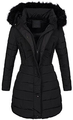 Warme Damen Winter Jacke Steppjacke Winterjacke gesteppt Parka gefüttert B424 (XXL, Schwarz) (Daunenjacke Schwarze Gesteppte)