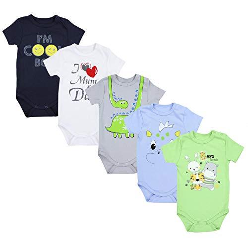 TupTam Unisex Baby Kurzarm Body mit Aufdruck Spruch 5er Pack, Farbe: Junge 3, Größe: 104