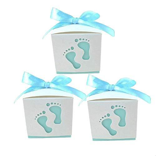 XYJIE Geschenkboxen für Babyparty, Party, Geburtstagsdekoration, Geschenkboxen, Bänder, Süßigkeitenboxen, Süßigkeitenboxen, Fußform, Himmelblau, 50 Stück